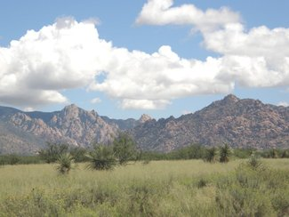 Looking to the east at the nearby Dragoon Mountains which are in The Coronado National Forest.