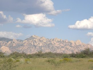 looking to the southeast at the Dragoon Mountains.