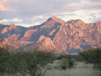 The Dragoon Mountains near sunset.
