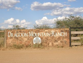One of the entry markers at one of the gates going into Dragoon Mountain Ranch.