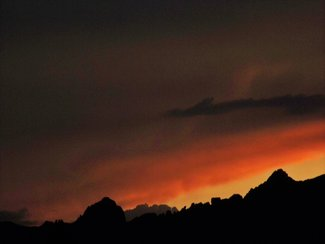 Sunset behind Cochise Stronghold in the Dragoon Mts. taken from property.