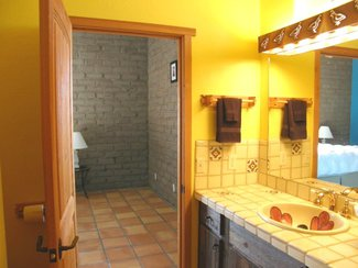The master bath with it's hand painted Mexican tiles and sink.