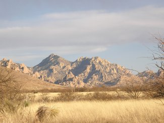 A winter view looking southeast at the Dragoon Mountains.