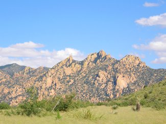 The nearby Dragoon Mountains located in the Coronado National Forest. Summer view when it's incredibly green.