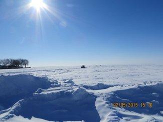 Ice fishermen returning
