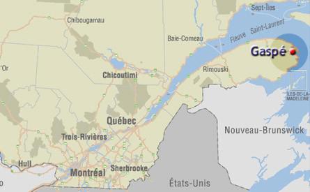 gaspe peninsula location map quebec