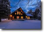 Michigan Waterfront 20 Acres Custom Log Home