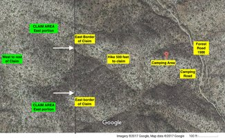Satellite view:  Camping area to claim. See larger pdf file maps scrolling down left side of listing.