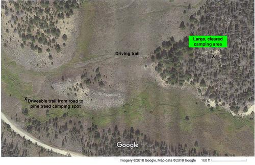 secluded side road to cleared camping area.