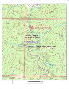 2 parts of creek on claim topography map