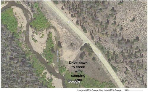 satellite view close up camping spot by creek colorado