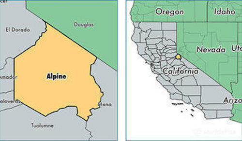 alpine county location map california