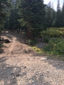 Camping area by creek on the claim
