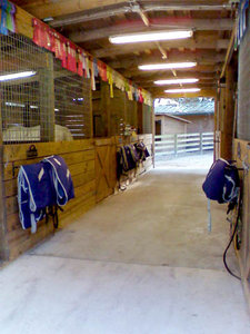 6-Stall Horse Stable with Center Aisle