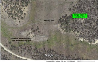 Secluded side road to cleared camping area.See larger pdf file view lower left on listing.