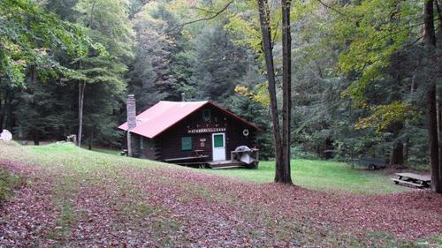 land log cabin waterfall lodge property harford new york