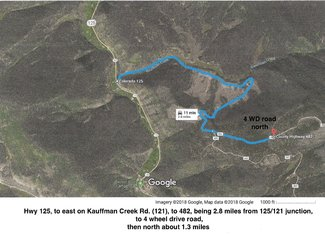 Claim route from 125 to 4 WDrive roadSee larger pdf file maps lower left on listing.