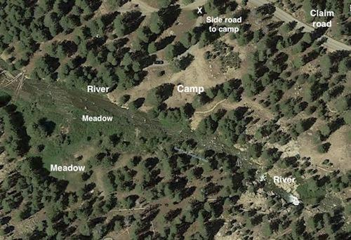 satellite view, meadow, river and camping spot california