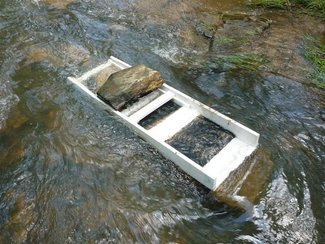 Creek powered sluice box