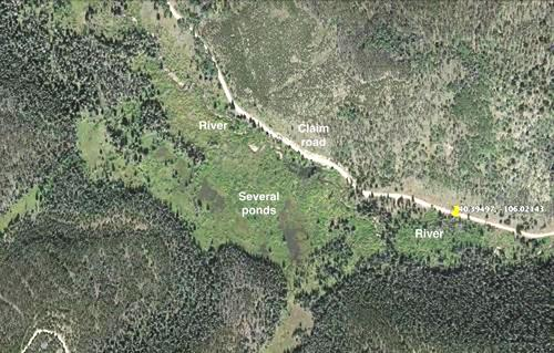 satellite view meadow, river, and ponds colorado