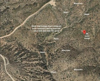 Closer satellite view of pond, washes, mountains