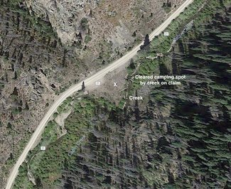 Camping spot on claim satellite view