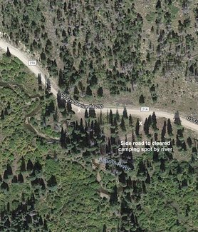 Claim side road camping spot satellite view