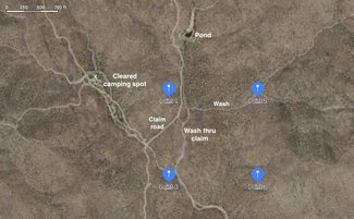 Claim GPS corners map, satellite view, wash, pond. camping