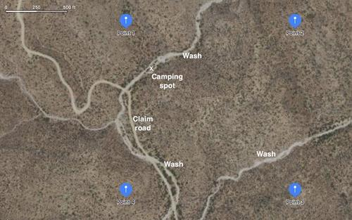 claim gps corners map, wash, camping arizona