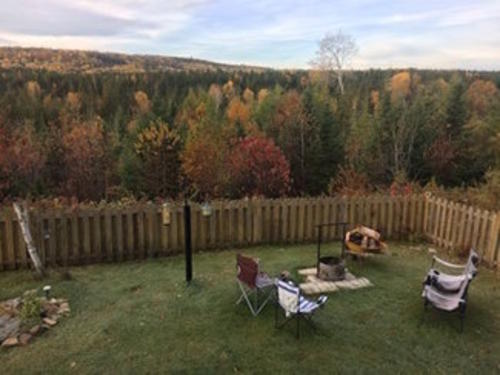 backyard of cottage across the road quebec