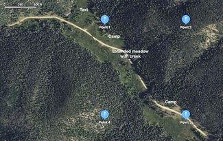 Claim satellite view GPS corners and camping