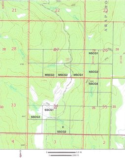 Topography claim location map