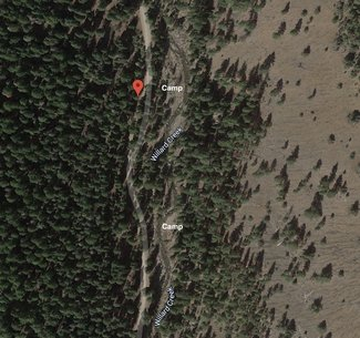 Satellite view camping spots by creek