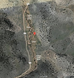 Satellite view creek and camp spots