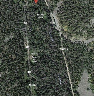 Satellite view camping spots and meadows