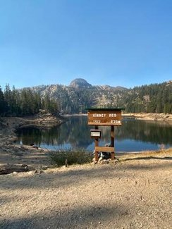 Kinney Reservoir with trail into claim