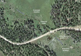 Zoomed in Satellite view camping spots