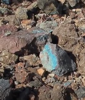 Chrysocolla on claim, used for jewelry and claimed to have healing properties