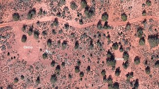 Satellite view camping spots with trees