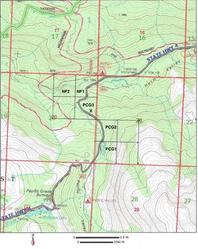 claim topography location map california