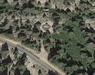 Satellite view camping area